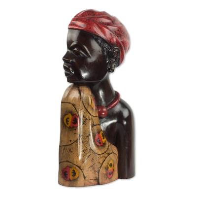 Wood sculpture, 'Profile of a Queen' - Carved Sese Wood Sculpture of an African Woman from Ghana