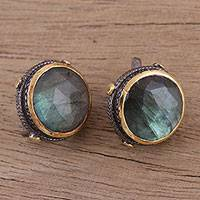 Gold accented labradorite button earrings, 'Radiant Unity' - Gold Accent Labradorite and Sterling Silver Button Earrings