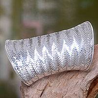 Sterling silver cuff bracelet, 'Wide Tropical Lattice' - Wide Handwoven Sterling Silver Cuff Bracelet