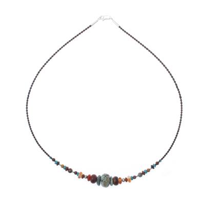 Multi-gemstone beaded necklace, 'Bohemian Style' - Multi-Gemstone Beaded Necklace from Thailand