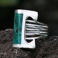 Chrysocolla cocktail ring, 'Imagination' - Sterling Silver Sterling Silver Green Cocktail Ring