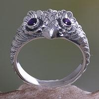 Amethyst ring, 'Owl Wisdom' - Amethyst and Silver Bird Ring