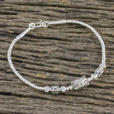 Silver beaded bracelet, 'Hill Tribe Textures' - Fine Silver Beaded Bracelet by Karen Hill Tribe Artisans