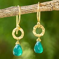 Gold plated dangle earrings, 'Verdant Suns' - Artisan Crafted Gold Plated and Green Onyx Dangle Earrings