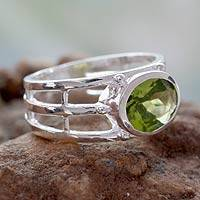 Peridot single stone ring, 'Forest Glow' - Peridot Ring Crafted of Sterling Silver