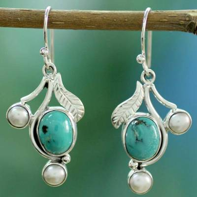 Cultured pearl and turquoise dangle earrings, 'Blue Blossom' - Cultured Pearl Turquoise and Sterling Silver Earrings
