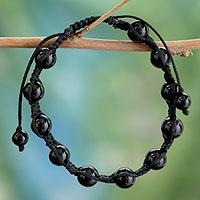 Onyx Shambhala-style bracelet, 'Oneness' - Onyx Shambhala-style Bracelet Handmade Jewelry from India