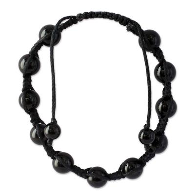 Onyx Shambhala-style Bracelet Handmade Jewelry from India