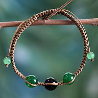 Onyx Shambhala-style bracelet, 'Protective Tranquility'