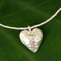 Silver heart pendant necklace, 'Heartbeat'