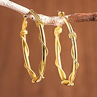 Gold plated sterling silver hoop earrings, 'Sophisticated Twist' - 18K Gold-Plated Sterling Silver Wrapped Hoop Earrings