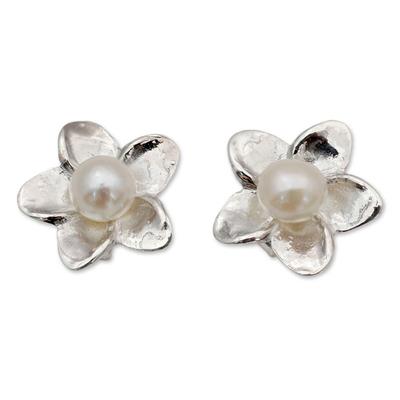 Cultured pearl button earrings, 'White Jasmine' - Pearl Bridal Jewelry Sterling Silver Earrings
