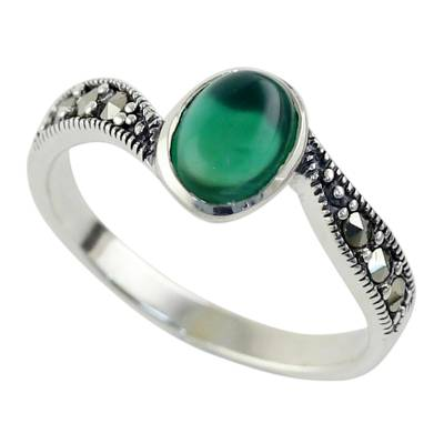 Green Onyx and Marcasite Cocktail Ring from Thailand