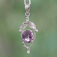 Amethyst pendant necklace, 'Jaipuri Beauty' - Amethyst pendant necklace