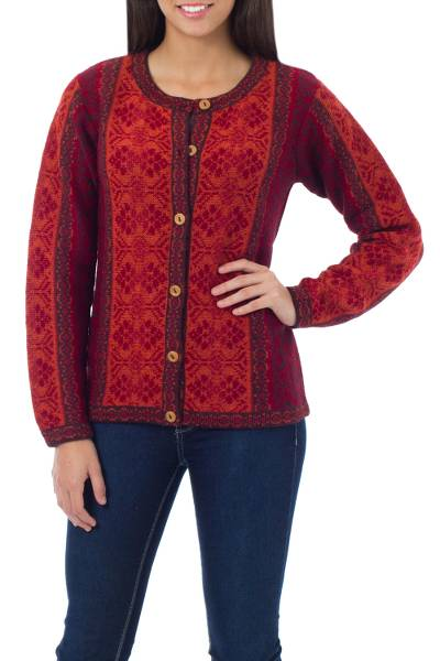100% alpaca sweater, 'Andean Poinsettia' - 100% Alpaca Wool Knit Cardigan Sweater