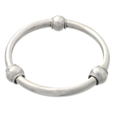 Sterling silver bangle bracelet, 'Suggestive Trio' - Sterling Silver Bangle Bracelet