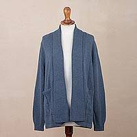 Alpaca blend cardigan, 'Azure Warmth' - Knit Alpaca Blend Cardigan in Azure from Peru