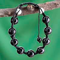 Onyx Shambhala-style bracelet, 'Moonlit Protection' - Handmade Onyx Shambhala-style Macrame Bracelet India
