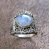 Rainbow moonstone cocktail ring, 'Nighttime Garden'
