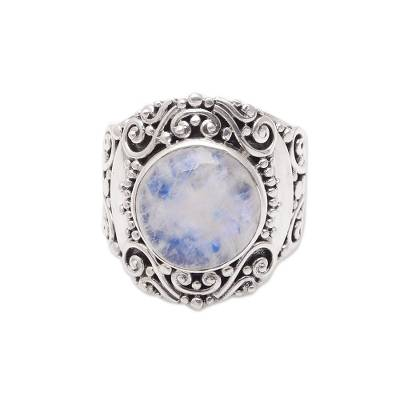 Rainbow moonstone cocktail ring,