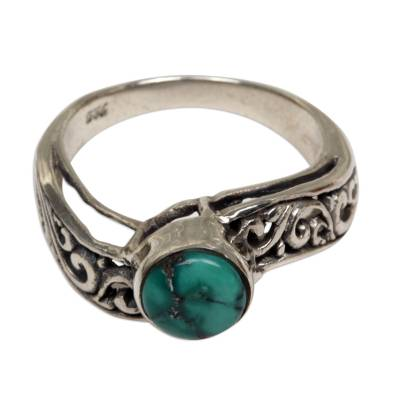 Reconstituted Turquoise Single Stone Ring from Indonesia
