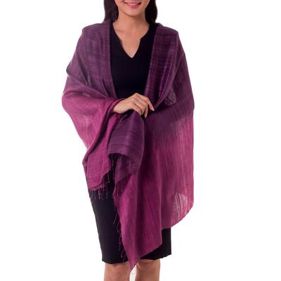 Silk shawl, 'Bold Violet' - Unique Silk Shawl