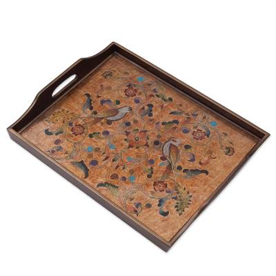 Reverse Painted Glass Tray with Bird and Floral Motifs