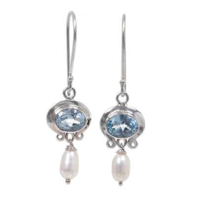 Cultured pearl and blue topaz dangle earrings,