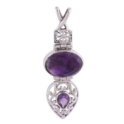 Amethyst pendant, 'Wise Beauty' - India Jewelry Sterling Silver and Amethyst Pendant