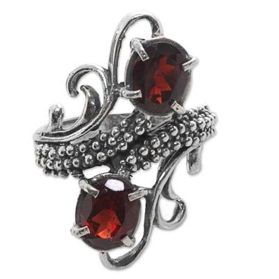 Garnet cocktail ring, 'Magical Union in Red' - Hand Made Garnet Cocktail Ring from Indonesia
