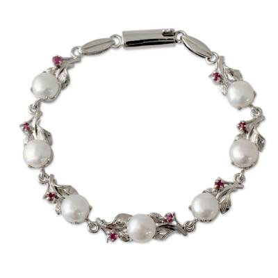 Pearl and Ruby Floral Silver Link Bracelet from India