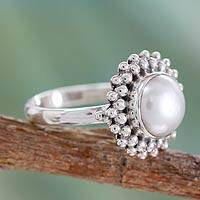 Cultured pearl cocktail ring, 'Kolkata Halo' - Artisan Crafted Sterling Silver Pearl Ring