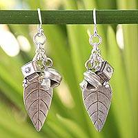 Silver cluster earrings, 'Hill Tribe Joy' - Thai Hill Tribe Silver Cluster Earrings