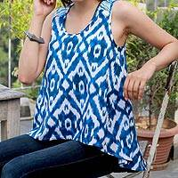 Cotton tank top, 'Abstract Blues' - Women's Blue and White Cotton High Low Tank Top from India