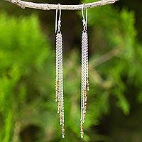 Yellow sapphire waterfall earrings, 'Power of Nature'