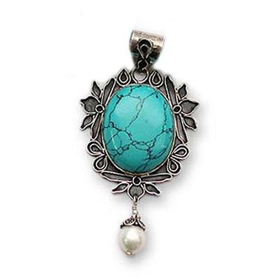Magnesite and cultured pearl pendant,