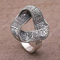 Sterling silver cocktail ring, 'Infinite Songket' - 925 Sterling Silver Infinity Cocktail Ring from Bali