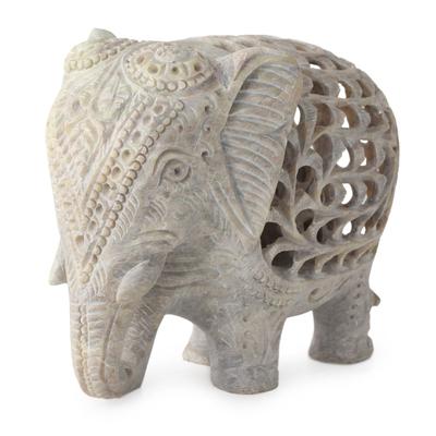 Soapstone sculpture, 'Mother Elephant' - Natural Soapstone Elephant Sculpture Carved by Hand
