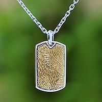 Men's sterling silver pendant necklace, 'Golden Fur'