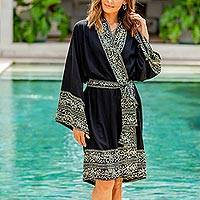 Short rayon batik robe, 'Midnight Rose'