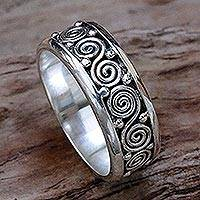 Sterling silver band ring, 'Miracle Spirals' - Sterling Silver Unisex Spiral Band Ring from Indonesia