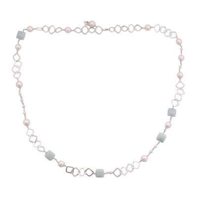 Pearl and blue chalcedony long necklace, 'Innovate' - Pearl Chalcedony and Sterling Silver Necklace from India