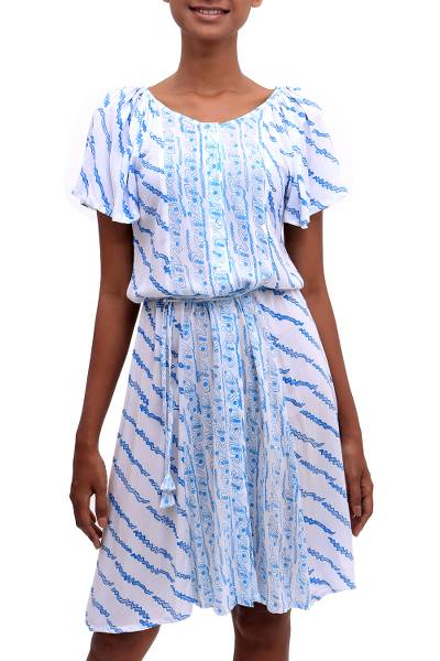 Printed Rayon Tunic-Style Dress in Azure from Bali