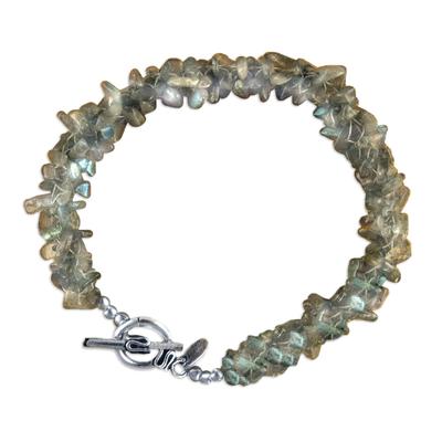 Labradorite beaded bracelet, 'Mysterious Dusk' - Labradorite and Sterling Beaded Bracelet