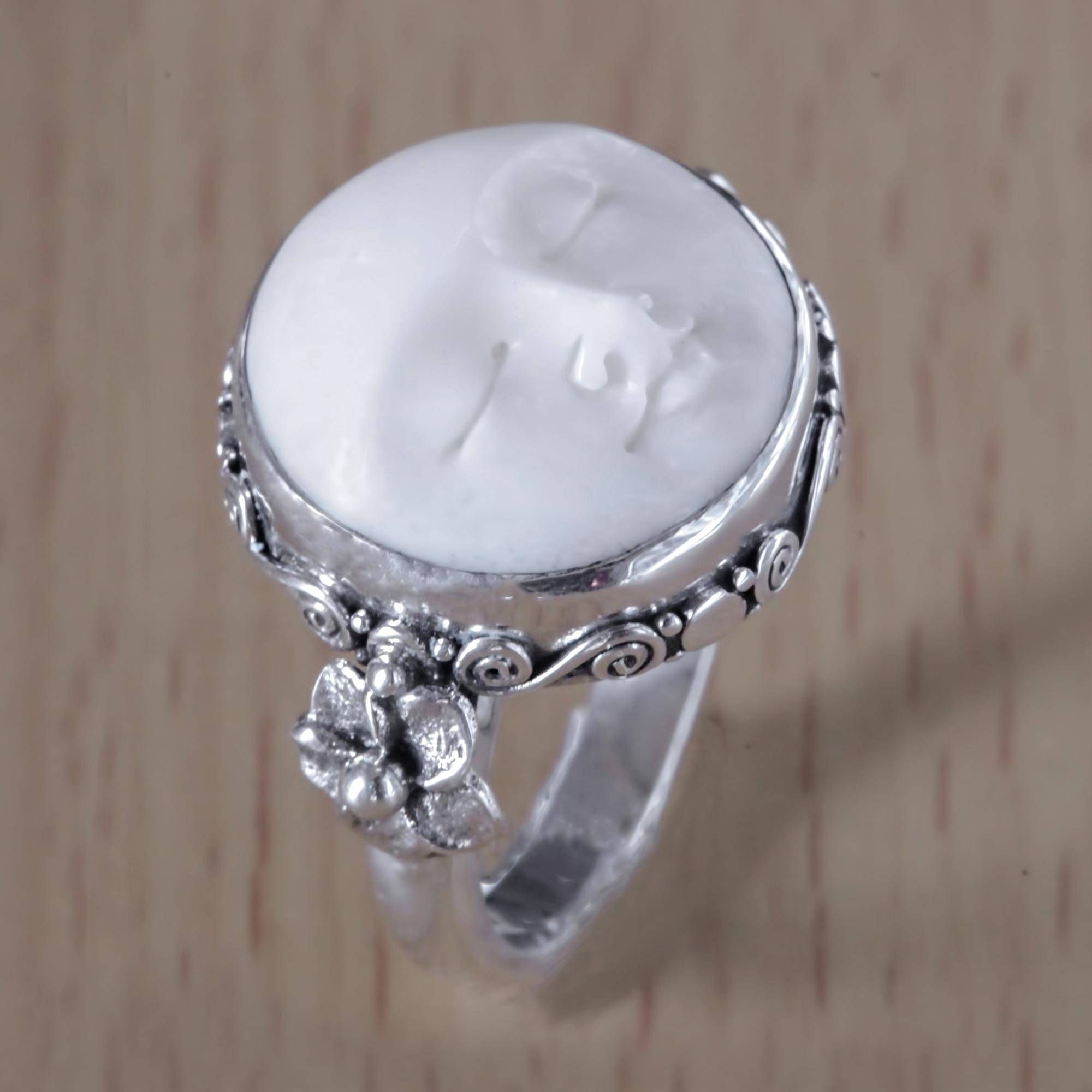 Carved Bone And Sterling Silver Cocktail Ring Moon Princess Novica