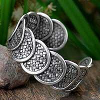 Silver cuff bracelet, 'Lanna Treasure' - Woven Silver Cuff Bracelet