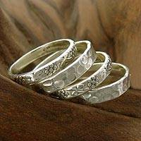 Sterling silver stacking rings, 'Versatility' (set of 4) - 4 Stackable Band Rings Sterling Silver India Jewelry