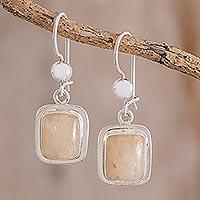 Quartz dangle earrings, 'Maya Sunbeam' - Artisan Crafted Orange Quartz and Silver Earrings