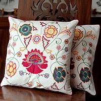 Cotton cushion covers, 'Eternal Spring' (pair) - Embroidered Cotton Cushion Covers from India (Pair)
