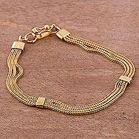 Gold plated sterling silver chain bracelet, 'Dragon Royalty'